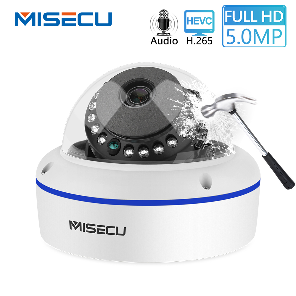MISECU Super HD 5MP 2MP H.265 Surveillance IP POE Camera 1080P Audio Microphone Dome Indoor Security Camera Email Push ONVIF P2P