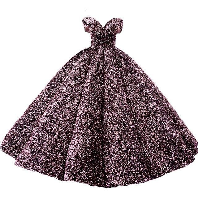 חתונת שמלת 2020 גברת Win יוקרה פאייטים סירת צוואר כדור שמלת נסיכה בלינג בלינג חתונת שמלת Vestido דה Noiva מותאם אישית גודל