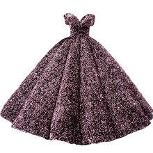 Vestido De novia con lentejuelas De lujo, cuello De barco, Princesa, Bling, boda, talla personalizada, 2020