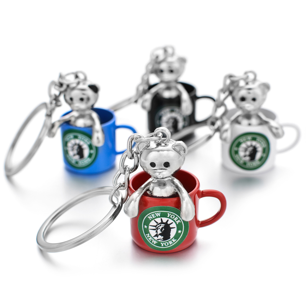 Vicney Colorful New York Cup Keychain Fashion Bear In Cup Key Chain For Friends New Style Jewelry Key Holder For Lovers Gift