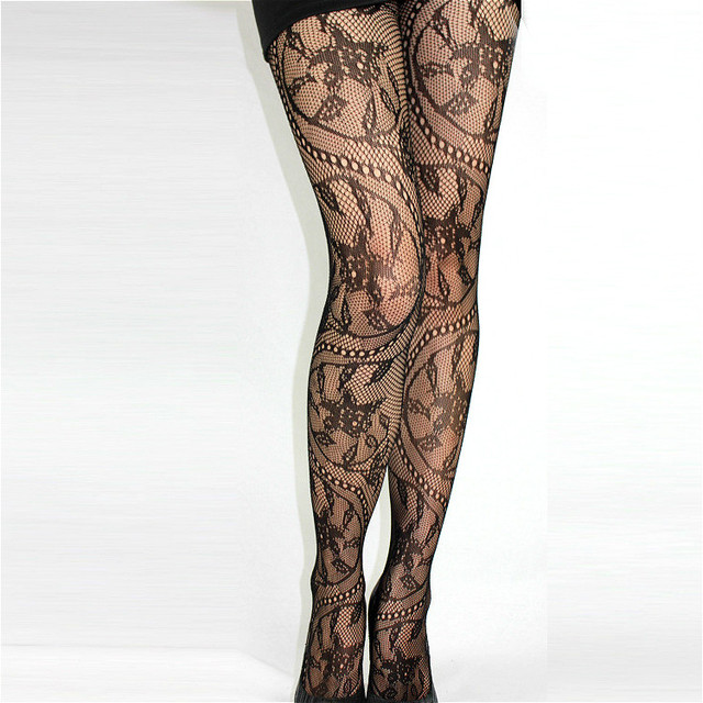 Sexy Lingerie Women Mesh Fishnet Stockings Lace Jacquard Thigh High Tights Thin Pantyhose Lace Hosiery 1