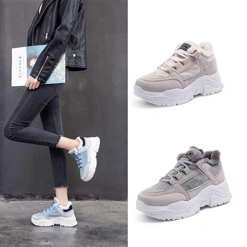 Fujin kadın botları ayakkabı kış ayakkabı platformu ayakkabı peluş kürk Lace Up kadınlar rahat ayakkabılar patik moda 2020