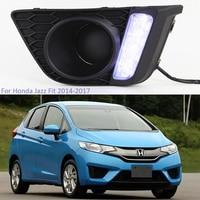 YTCLIN 2Pcs LED DRL Daytime Running Light for Honda Jazz Fit 2014 2015 2016 2017 12V Waterproof Fog Lamp with Turn Yellow Signal