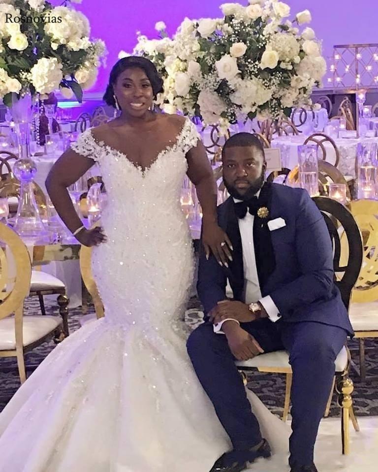Africa Mermaid Wedding Dresses 2020 Sheer Neck Covered Button Back Sweep Train Beaded Vestido De Novia Bridal Gowns Plus Size