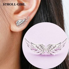 Strollgirl Genuine 925 Sterling Silver Earrings 2019 Hollow Feather Fairy Wings Stud for Women Fashion Jewelry gifts