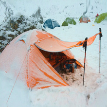 Camping camping tent outdoor 3-4 people double aluminum pole windproof rainstorm with snow skirt wild tent цены