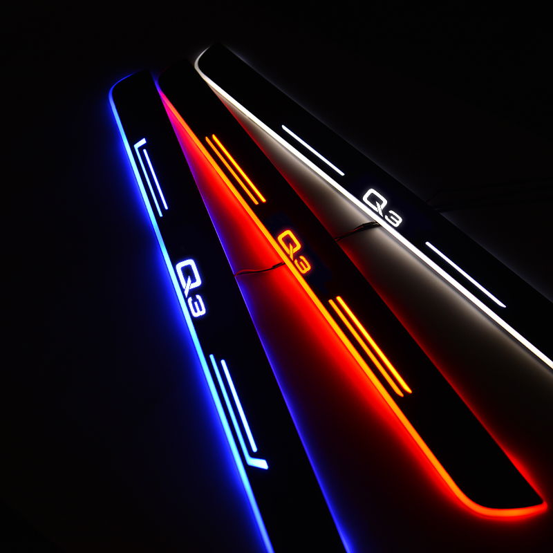 LED Door Sill For Audi Q3 F3B 2018 Door Scuff Plate Entry Guard Welcome Light Car Accessories