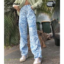 Rockmore – jean taille haute en Denim pour femme, pantalon à jambes bouffantes, motif zèbre, Streetwear des années 90, pantalon de petit ami maman Y2K