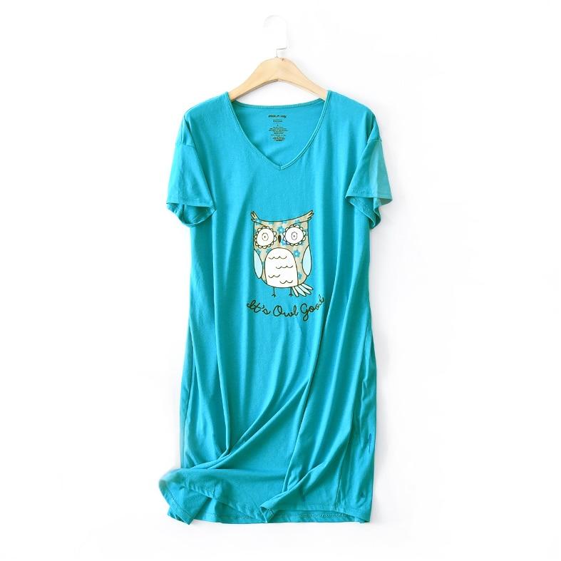 Hot Sale Cute Cartoon Owl Nightgowns For Women Summer Knit Cotton Sleepdress Pyjamas Sleepwear Women Night Dress Plus Size