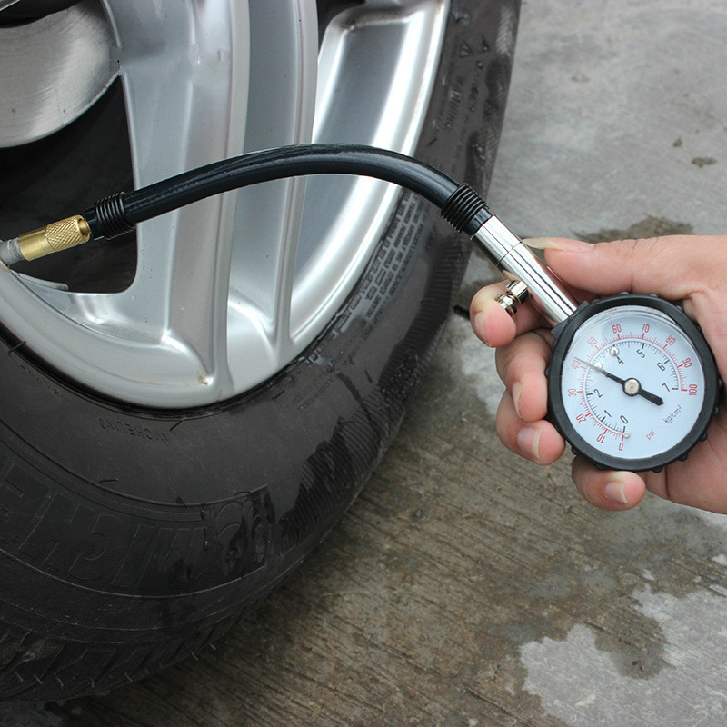 Portable Mechanical Tire Pressure Gauge With Leather Tube Precision Tire Pressure Gauge With Deflated Pressure Barometer