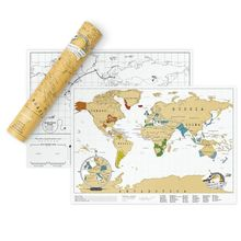Mini World Scraping Map Travel Scratch Print Wall Sticker Notes City Black Color