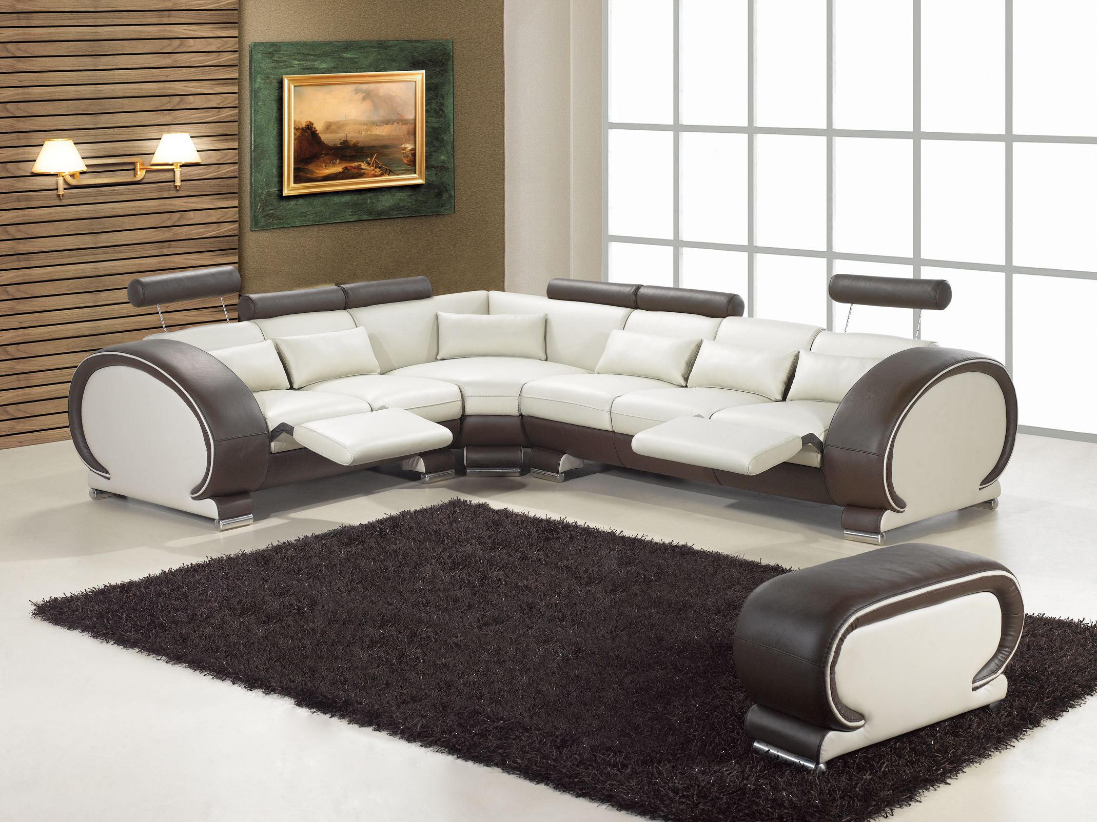 Купить с кэшбэком 2015 designer modern top graded cow Recliner leather sofa set Living room sofa set with reclining chair #9002 with cupboard