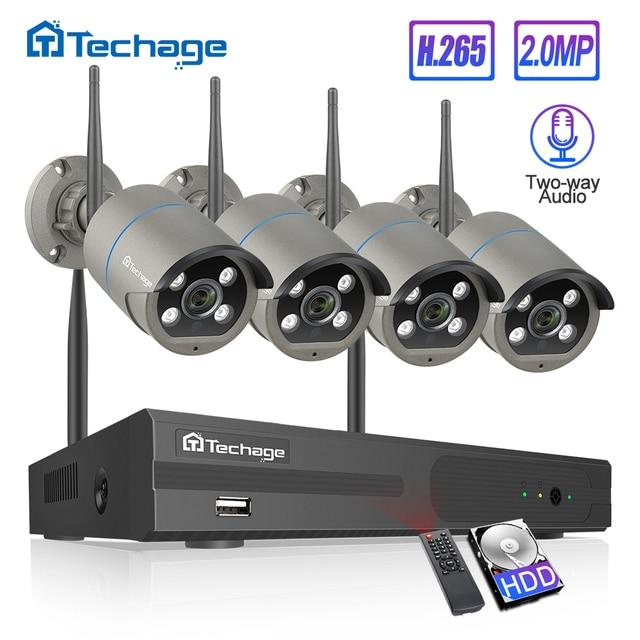H.265 8CH 1080P Wireless NVR Kit Security CCTV System Audio Sound 2MP Outdoor WiFi IP Camera P2P Video Surveillance Set 2TB HDD