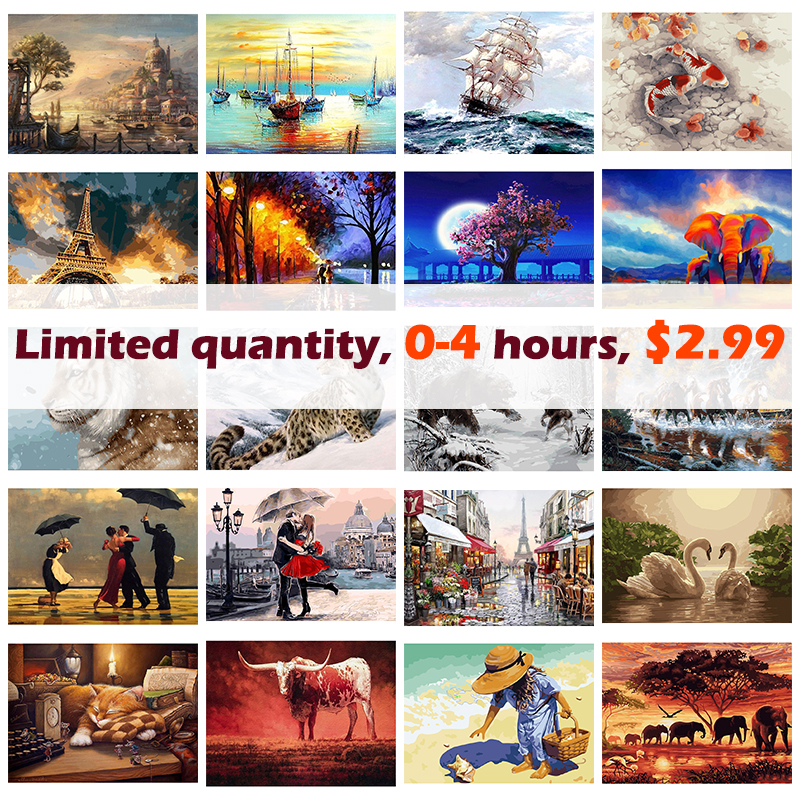 GATYZTORY 40x50cm Painting By Numbers For Colourful Animals DIY Pictures By Numbers Landscape Frameless Digital Painting