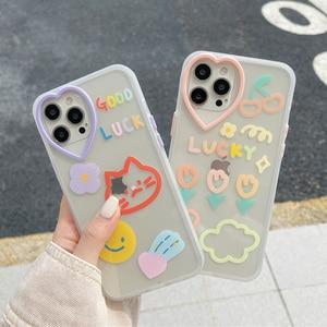 Image 1 - Gato smiley etiqueta flor amor coração lente caso do telefone para o iphone 12 11 pro x xs max xr 7 8 plus se 2020 proteção macia tpu capa