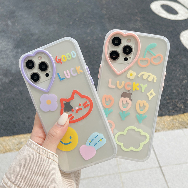 Gato smiley etiqueta flor amor coração lente caso do telefone para o iphone 12 11 pro x xs max xr 7 8 plus se 2020 proteção macia tpu capa