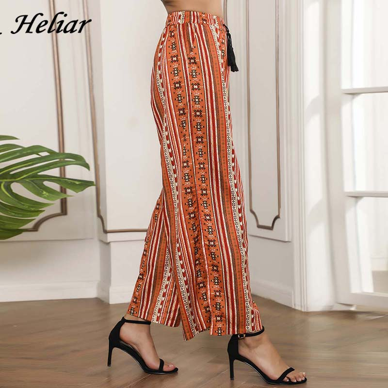 ONLY PLUS BOHO Style Elastic Waist   Wide     Leg     Pant   Female Autumn Loose Mid Elastic Waist   Pants   Striped Trousers For Women Trousers