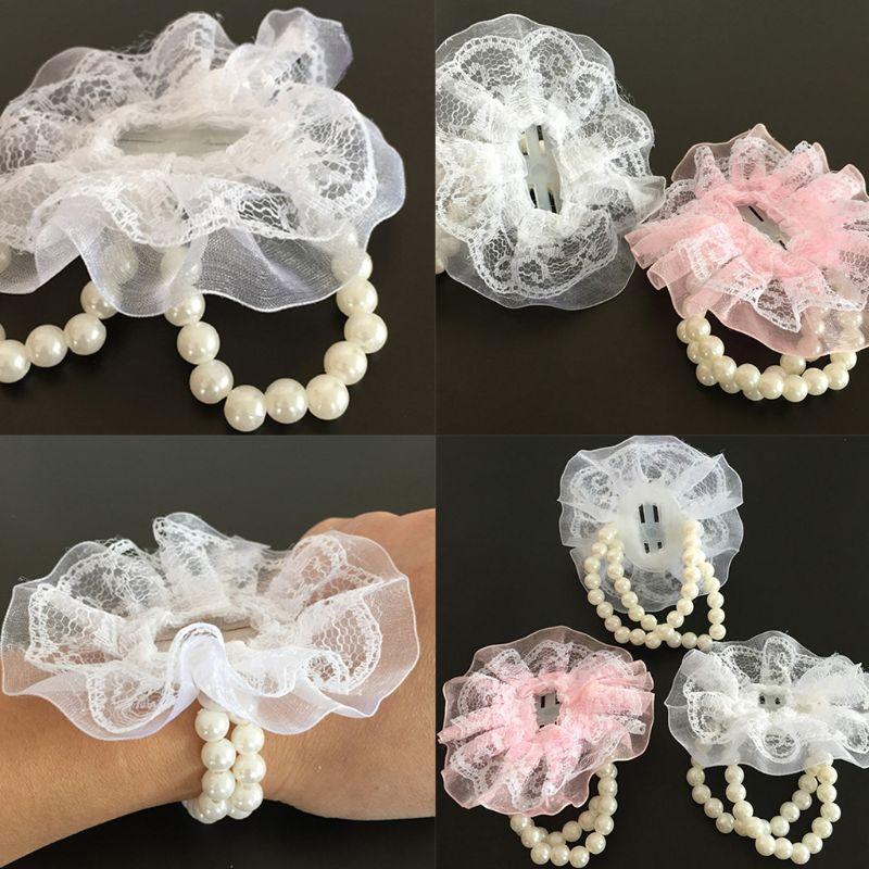 Women Bridesmaid Girl Wedding Wrist Corsage Artificial Pearl Beads Net Yarn Flower Bracelet Wristband Prom Party Decor DIY