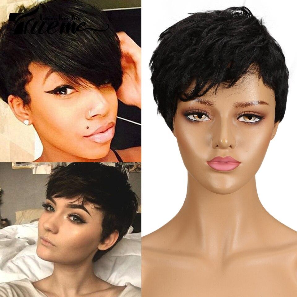 Trueme Wholesale Brazilian Human Hair Wavy Curly Short Human Hair Wig 99J Ombre Brown Wig Pixie Cut Full Wigs For Women