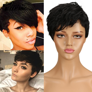 Trueme Wholesale Brazilian Human Hair Wavy Curly Short Human Hair Wig 99J Ombre Brown Wig Pixie Cut Full Wigs For Women(China)
