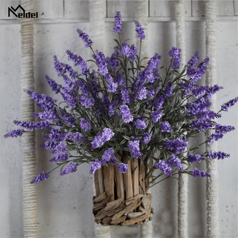 2Pcs Silk Flower Artificial Lavender Flowers Fake Bridal Flowers Bouquet Wedding Home Party Decor Purple Lavender Flowers