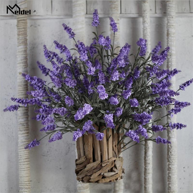 2Pcs Silk Flower Artificial Lavender Flowers Fake Bridal Flowers Bouquet Wedding Home Party Decor Purple Lavender Flowers