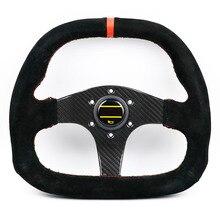 Универсальный 13 дюймов Настоящее углеродное волокно плоская замша кожа Гонки Ралли Спорт дрейф руль