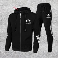 Erkek özel Logo spor günlük giysi düz renk Patchwork 20201 sonbahar yeni koşu spor fermuarlı ceket + pantolon 2 parça seti