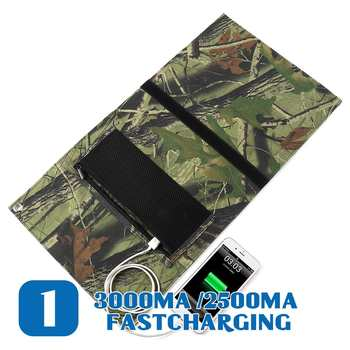New Design LEORY 25W 5V Foldable Solar Panel Charger Solar Power Bank Dual USB Camouflage Backpack Camping Hiking 2