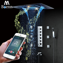 Music Speaker Showers LED Light Showerhead 600*800mm Waterfall Rainfall Misty Shower Bathroom Thermostatic Faucets Mixer