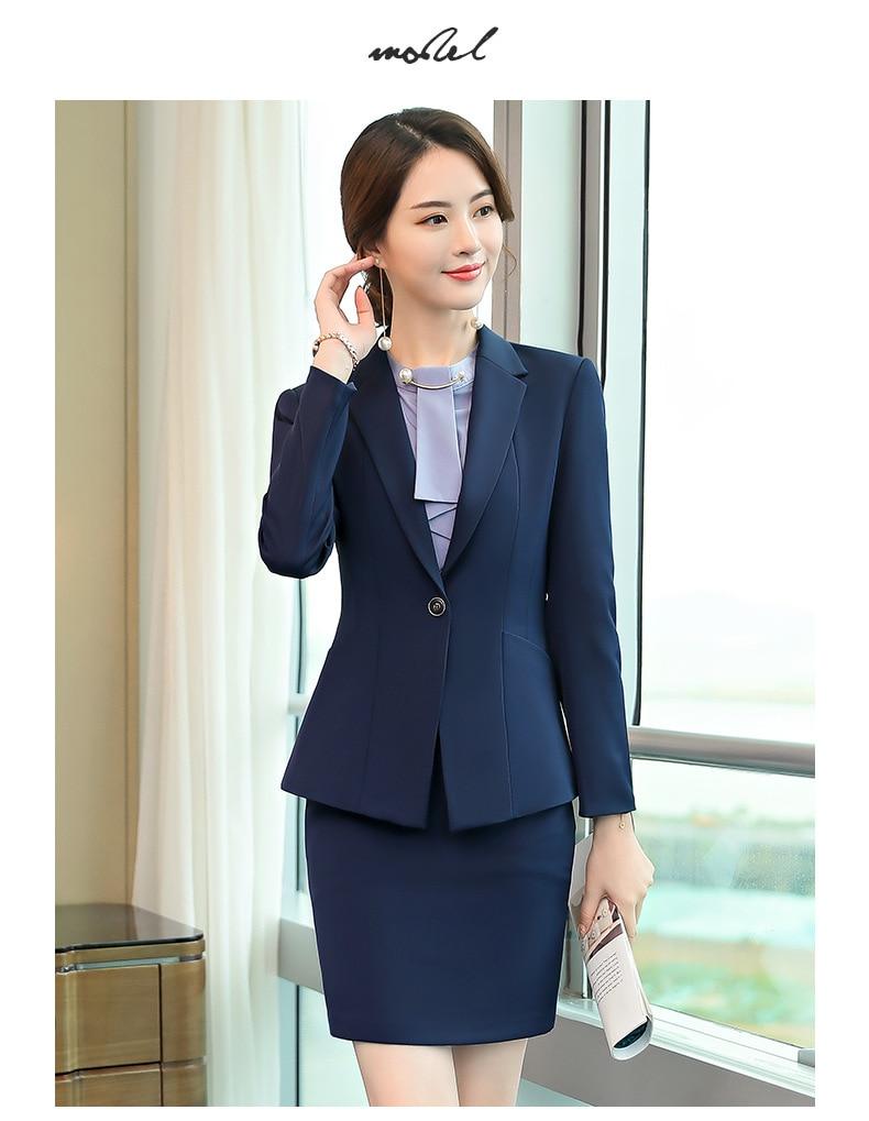 Female elegant business women's tops and blouses skirt blazer suits office ladies blazer woman work wear 2 pieces set Plus Size