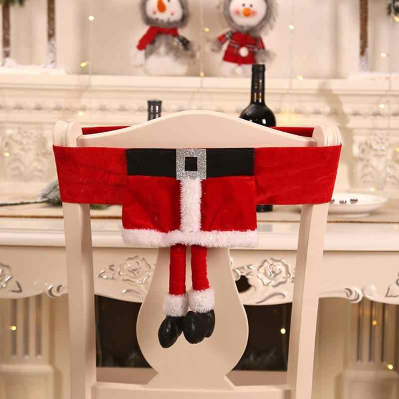 Dinner Table Chair Cover Chairs Back Covers Santa Claus Elf Velvet Cloth Xmas Home Party Christmas Decorative Accessories