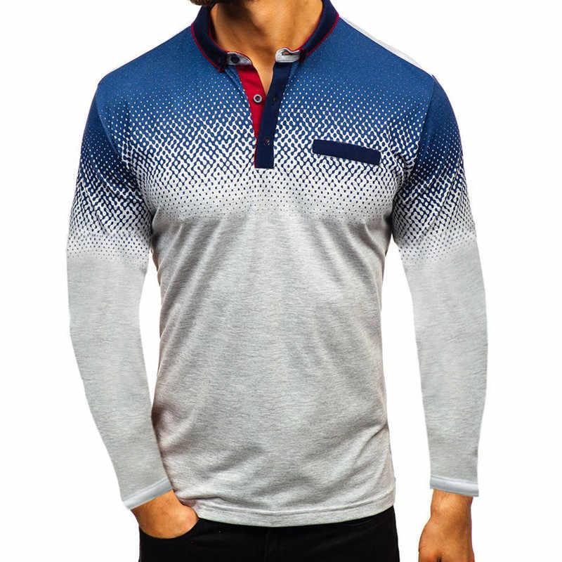 高品質無地 3D 刺繍ポロシャツカジュアルポロシャツメンズ長袖ポロシャツ 2019 新着男性ポロシャツ