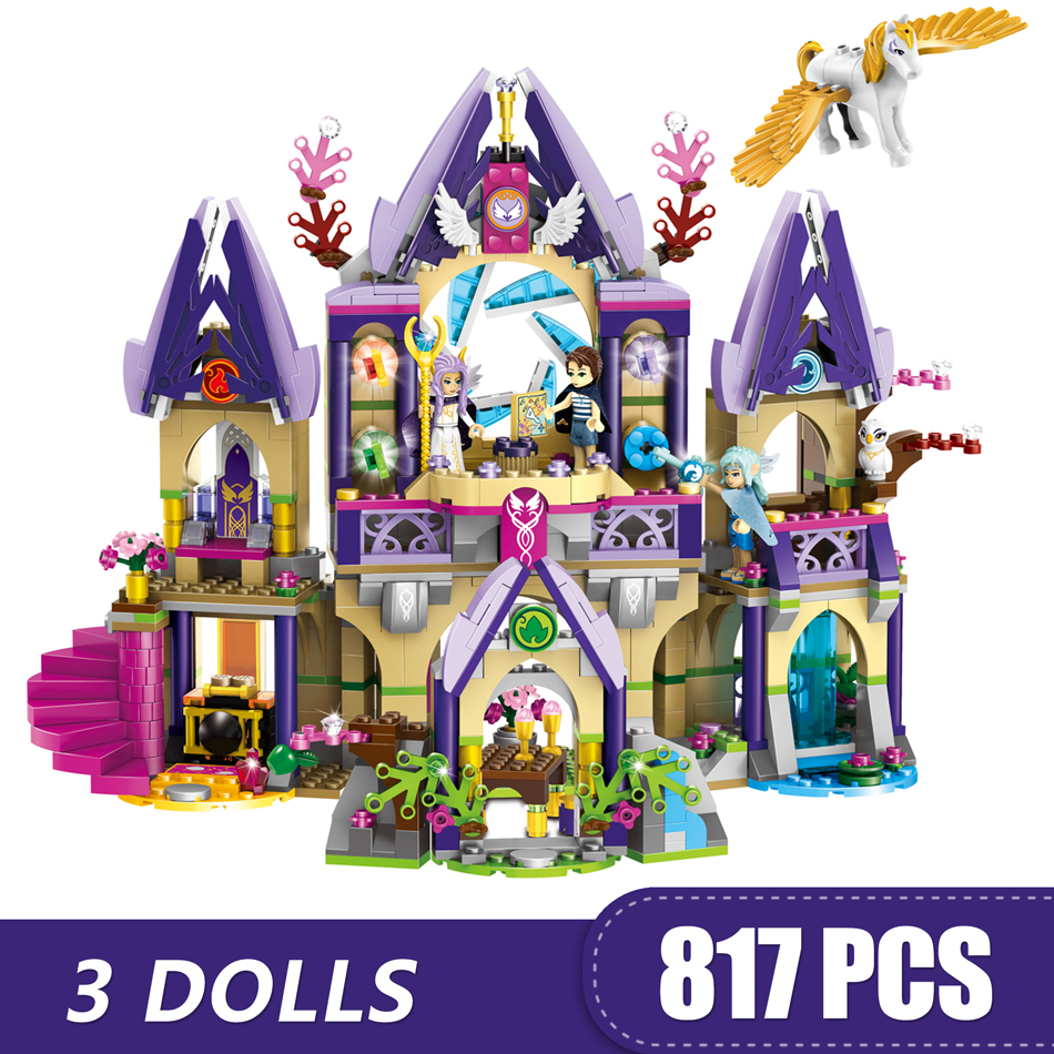 809PCS Small Building Blocks Compatible with <font><b>Legoinglys</b></font> Fairy Skylar's Mysterious <font><b>Sky</b></font> <font><b>Castle</b></font> Toys for Children Girls Gift DIY image