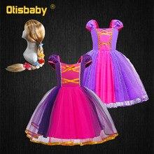 Платье в виде Рапунцель для маленьких девочек, Рождественский и новогодний костюм принцессы, детское праздничное фиолетовое платье-пачка д...
