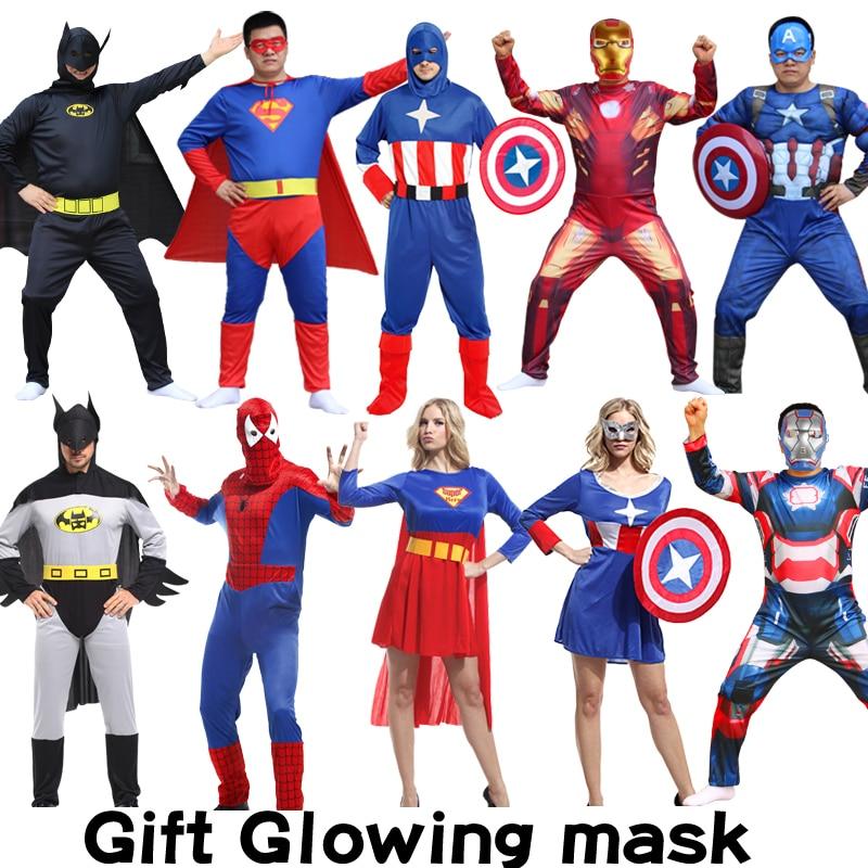 Halloween Adult Muscle Clothes Glowing Mask Super Hero Captain America Costume SpiderMan Hulk Batman Avengers Cosplay Costumes