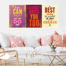 Tipografía motivacional, citas de vida, Retro Vintage impresiones de arte, póster Hippie, cuadros de pared, lienzo, decoración del hogar