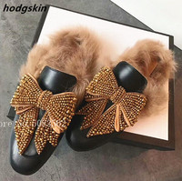 Fashion Bling Crystal Big Bow Tie Women Winter Slippers Fur Mules Slingbacks Casual Shoes Flats Flats Shoes Woman