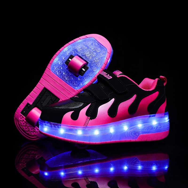 Eur28-42 Two Sneakers With Wheels USB Charging Glowing Led Light Up Heelies Roller Skate Wheels Shoes For Boys&girls Slippers