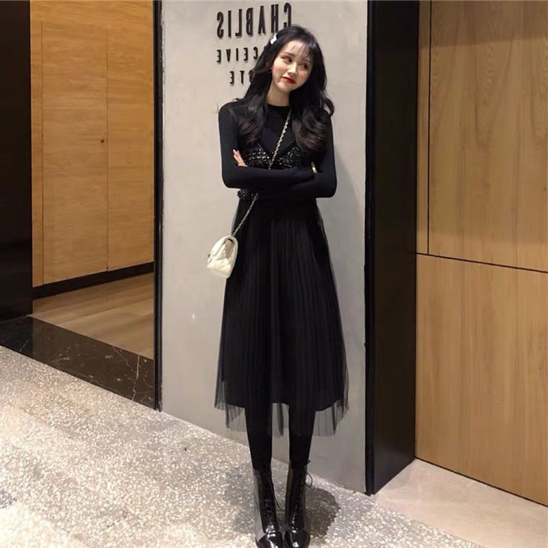 Early Autumn WOMEN'S Dress Inflooring Yang Gas Online Celebrity 2019 New Style Fashion Two Pieces Dress Outfit Children Early Au