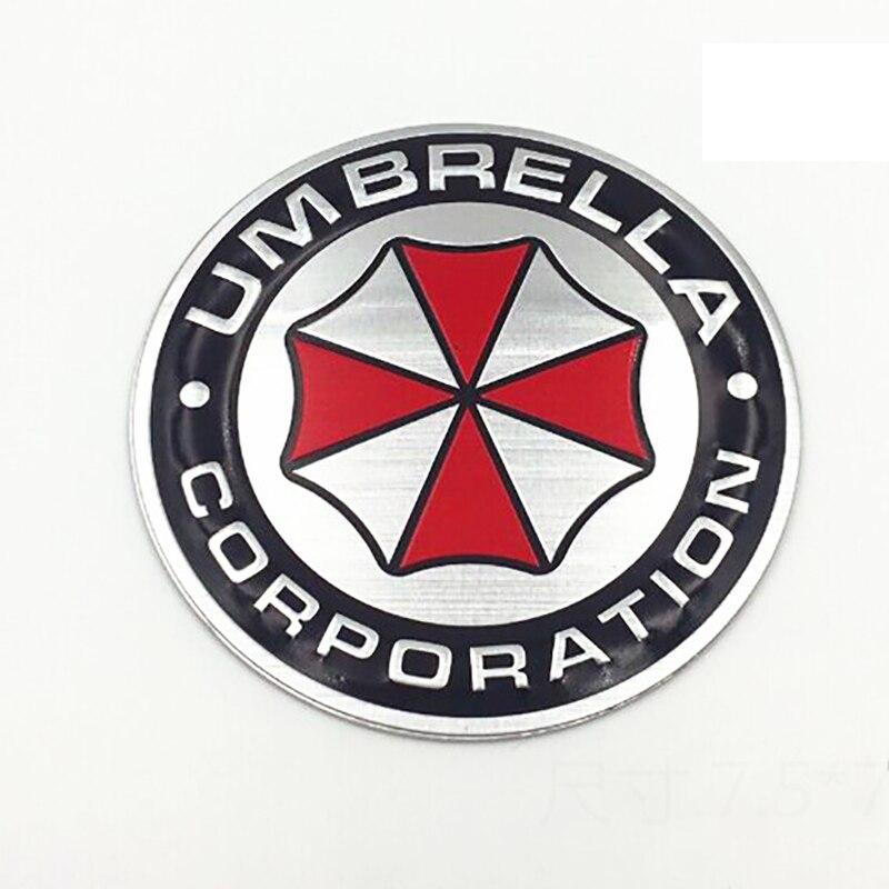 Image 4 - 3D aluminiowe naklejki z motywem umbrella corporation znaczek z symbolem bagażnik samochodowy metalowa naklejka naklejka z samoprzylepnymNaklejki samochodowe   -