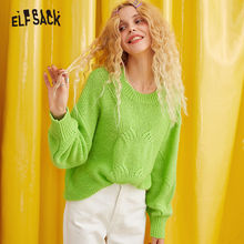ELFSACK 緑色固体カジュアル怠惰なニットセーターの女性の服 2019 秋冬韓国ファッション暖かい女性セーター