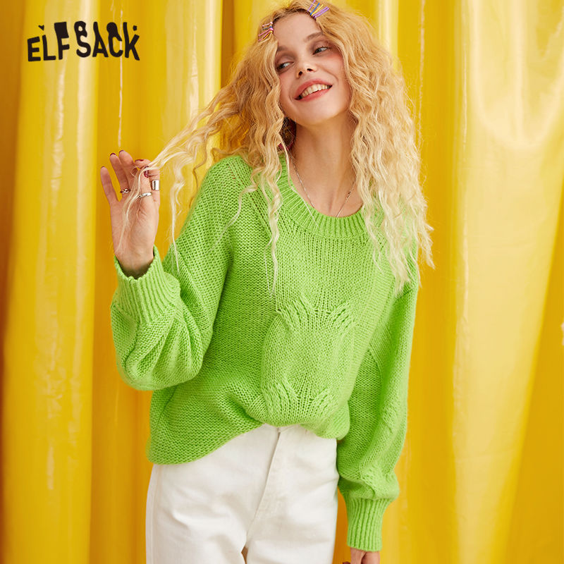 ELFSACK Green Solid Casual Lazy Knitted Sweater Women Clothes 2019 Autumn Winter Korean Fashion Warm Ladies Sweaters