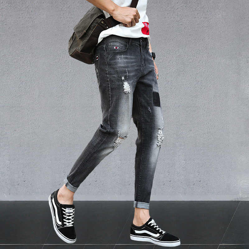 Hot 2019 Spring Autumn Ripped hole jeans men's small feet streetwear hip hop striped teenagers Ankle length pencil pants male
