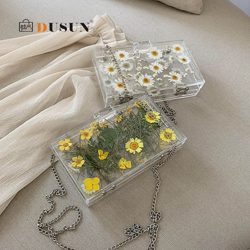 Fashion Acrylic Transparent Daisy Shoulder Bag Women Bags High Quality Clear Crossbody Bags For Women Messenger Bag Handbags