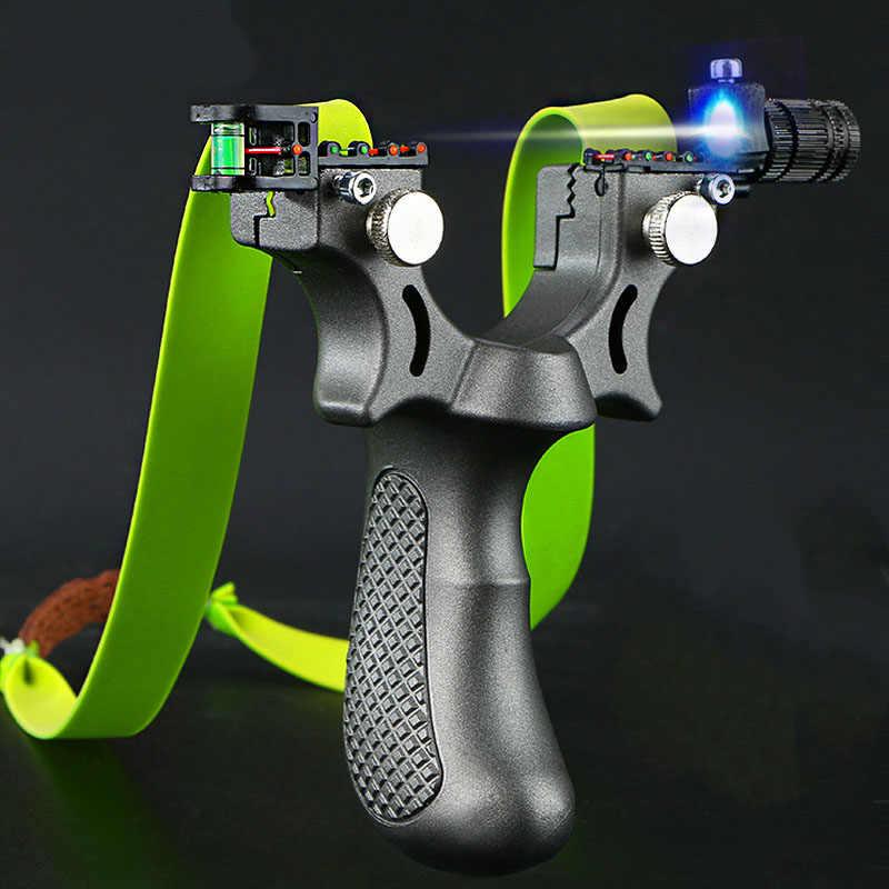 플랫 고무 밴드와 강력한 레이저 목표 슬링 샷 고정밀 슈팅 투석기 야외 스포츠 게임 슬링 샷