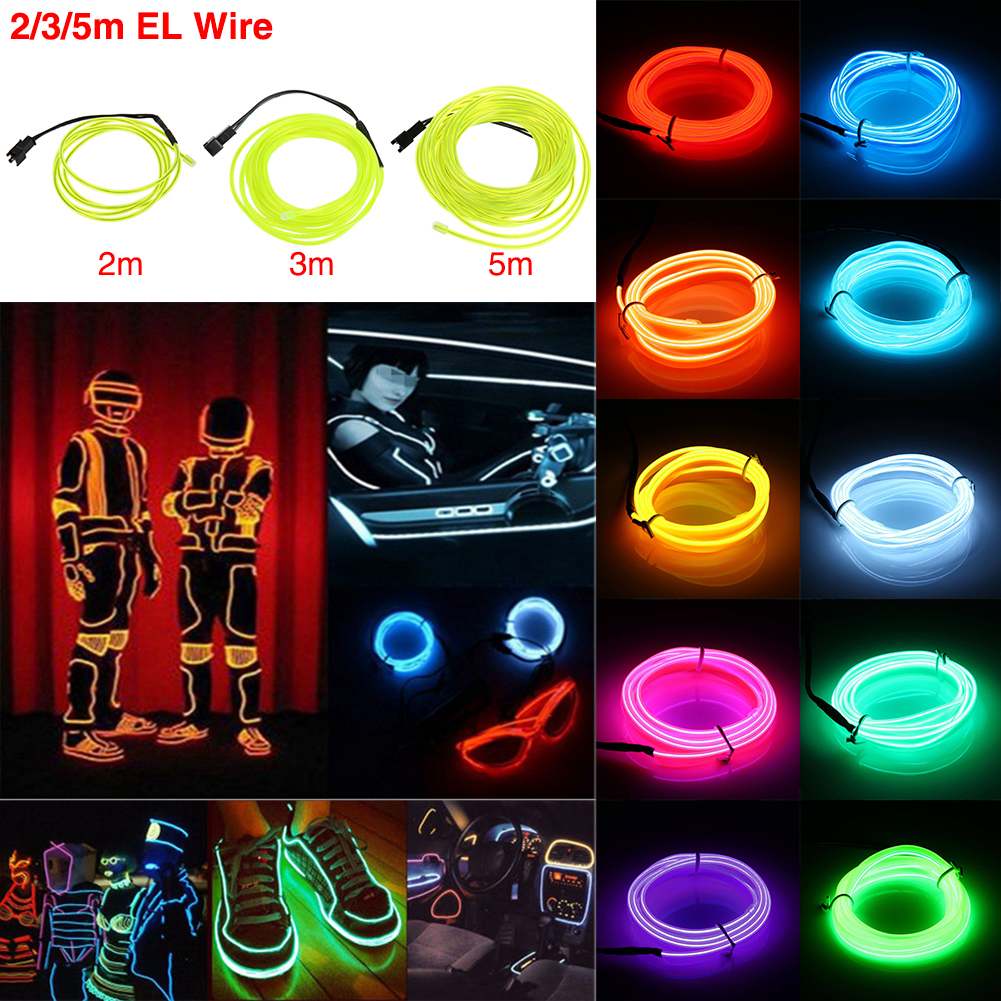 Flexible Car Neon LED Lights Glow EL Wire String Strip Rope Battery Operated 5M