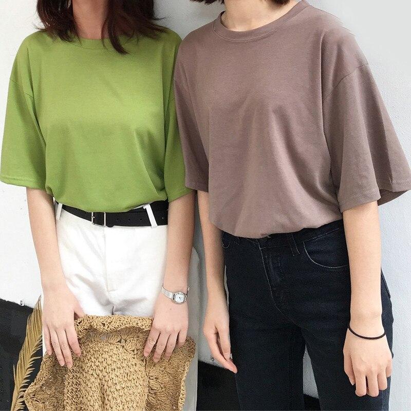 Camisetas femininas verão moda mulher algodão topos camisetas casual manga curta o-pescoço camiseta cor sólida t camisas