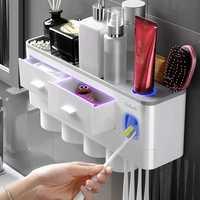 Аксессуары для ванной комнаты магнитный держатель для зубной щетки с адсорбцией автоматический диспенсер для зубной пасты настенный стелл...