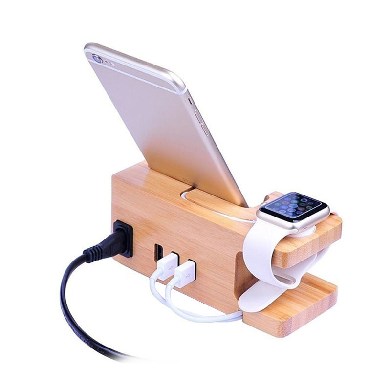 AAY-3-Port Usb Charger For Apple Watch & Phone Organizer Stand,Cradle Holder,15W 3A Desktop Bamboo Wood Charging Station For Iwa